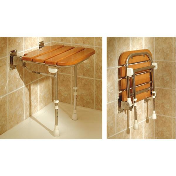 Asiento para ducha abatible de madera ortop dia avis for Asientos para duchas